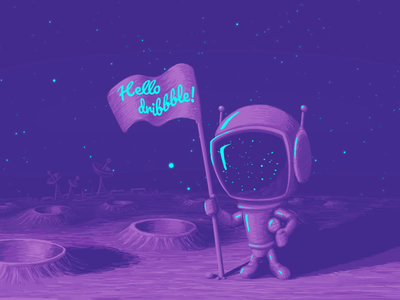 Hello dribbble! astronaut spaceman space design artwork art after-effects aftereffects tablet photoshop hello dribbble hellodribbble hello debut hello dribble hand drawn animation illustration