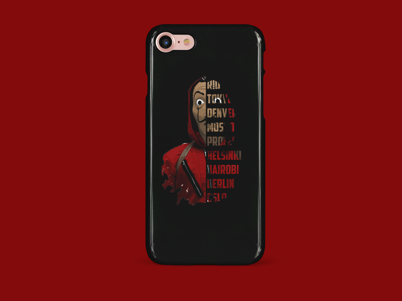 Phone case - La Casa De Papel design app advert logo webdeveloping vector typography type illustration branding salvador dali helsinki tokyo clean phone case case design case study phone la casa de papel lacasadepapel