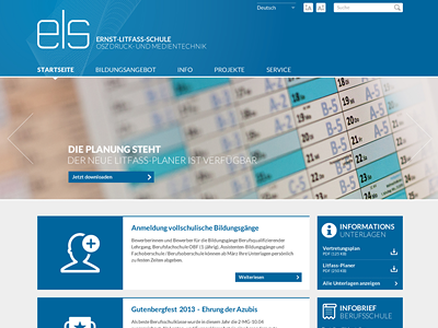 ELS Screendesign website homepage screendesign school ui vocational school clean flat