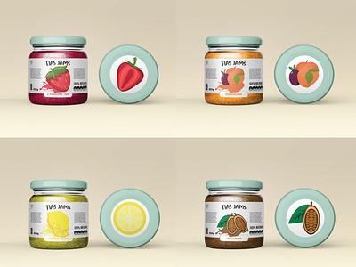 Jams illustrator fruity smooth taste jam tias jam brand branding sweets fruits enjoy cocoa beans cocoa strawberry jam lemon curde lemon strawberry marmalade jams brand