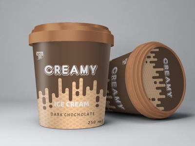 Ice Cream 2 labeldesign packagingdesign package labels design adobe illustrator 250ml sweet dark dark chocholate melting cream melting chocholate cream cup ice ice cream