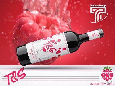 Raspberry Wine Bottle Concept artisan wine bottle wine glass logo commercial use red label design design wine concept bottle raspberry label packgagin design adobe illustrator