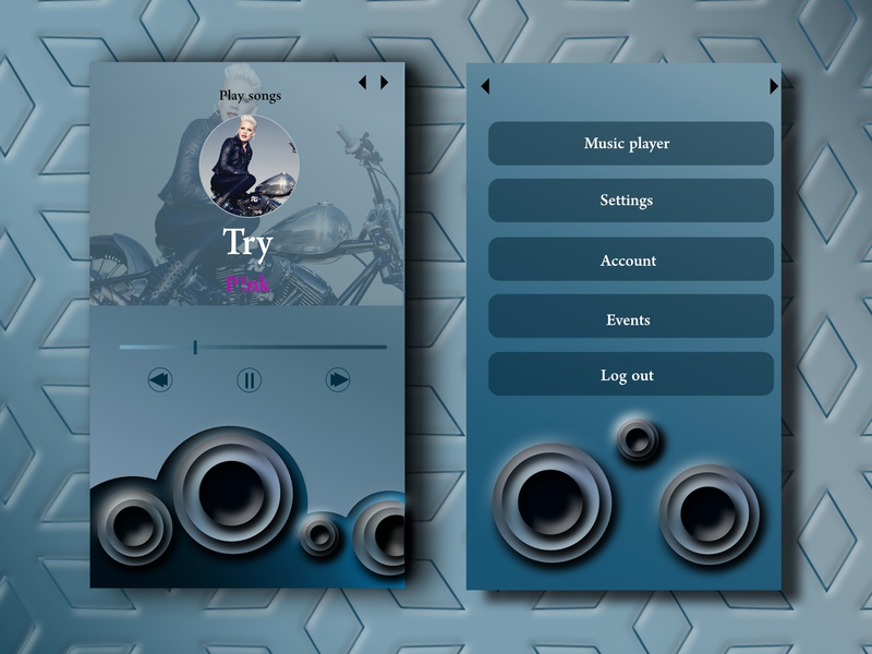 Daily UI Challenge #009 - Music Player music bass song try song try music app p!nk affinitydesigner playlists playlist sound bass blue dailyui 009 daily ui 009 music player ui music player player music