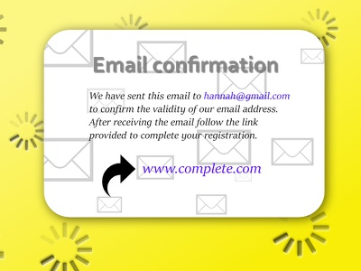 Daily UI #54 - Email Confirmation ui envelope follow link email app link yellow daily 100 daily ui 54 dailyui 54 ui design daily 100 challenge affinity designer confirmation email email confirmation