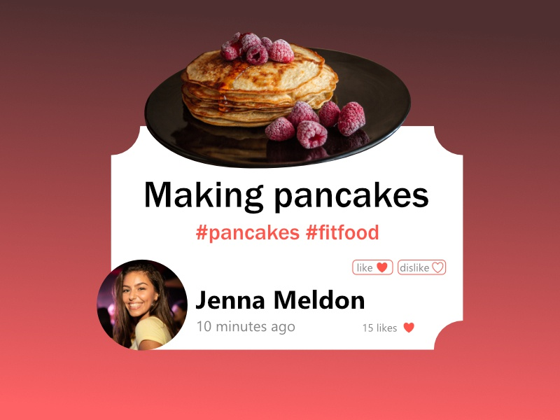 Daily UI #81 - Status Update red color raspberry daily ui 81 dailyui 81 healty food dislike like making food fit fitfood pancakes update status status update affinity designer ui design daily 100 challenge