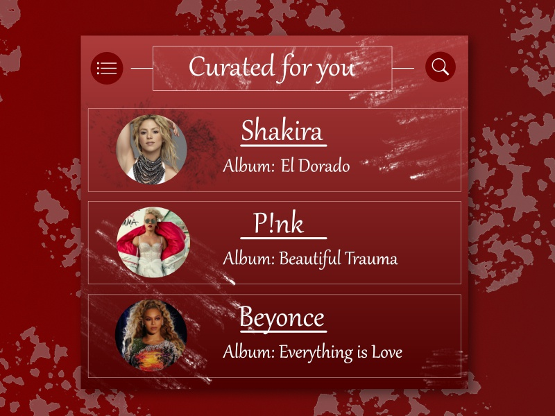 Daily UI # 91 - Curated for You albums songs shakira p!nk beyonce music app red daily ui 91 dailyui 91 affinity designer music artist choose music album you for curated music daily ui daily 100 challenge curated for you