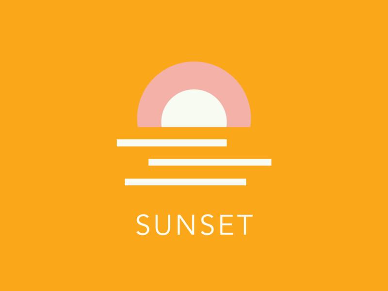 Sunset - Word Challenge - Sun geometric design geometric art geometric sun sunset challenge icon avenir illustrator vector graphic design illustration logo branding typography design