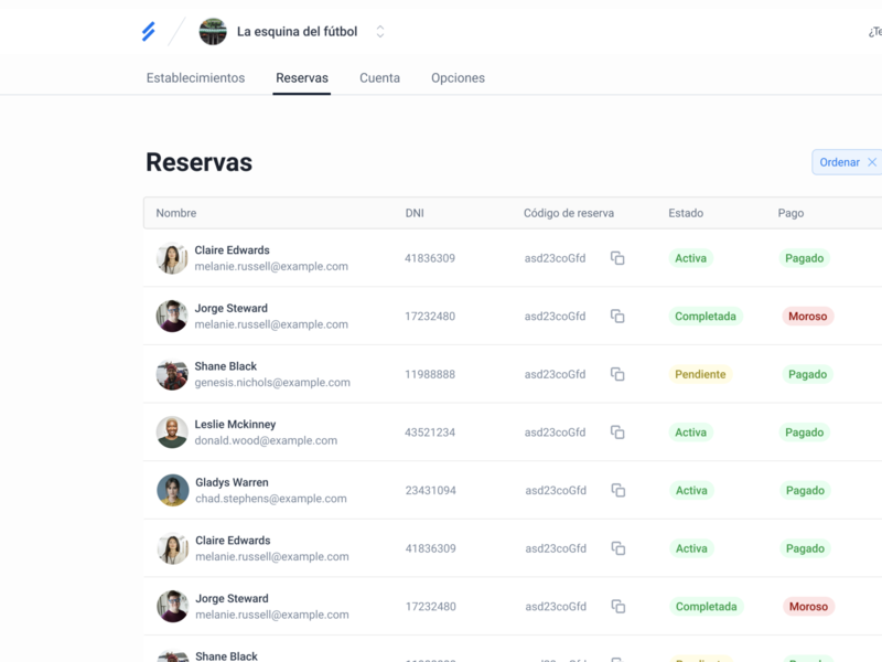 Reservations Table ui table ux design