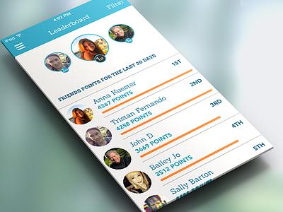 Everymove Leaderboard ios7 mobile fitness health rewards