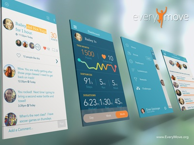 Everymove Redesign ios7 mobile fitness health rewards feed nav leaderboard