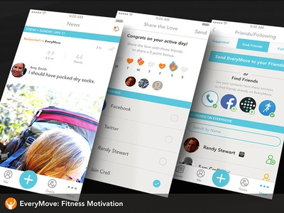 EveryMove iOS Screens mobile feed find friends ios social network fitness