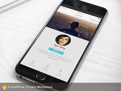EveryMove Profile Screen x-men profile fitness ios mobile