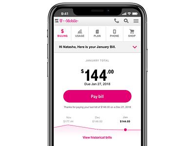 T-Mobile New Digital Bill bill pay magenta digital bill billing t-mobile