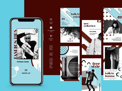 Vontez – Pop Art Instagram Stories Kit social twitter facebook business promo marketing fashion socialmedia promotion instagramstories stories photoshop  instagram influencer stories