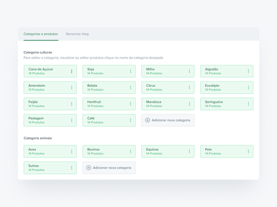 Products Management buttom component management system cms technology item edit green buttons ui card products category grid select add new add são paulo ribeirao preto