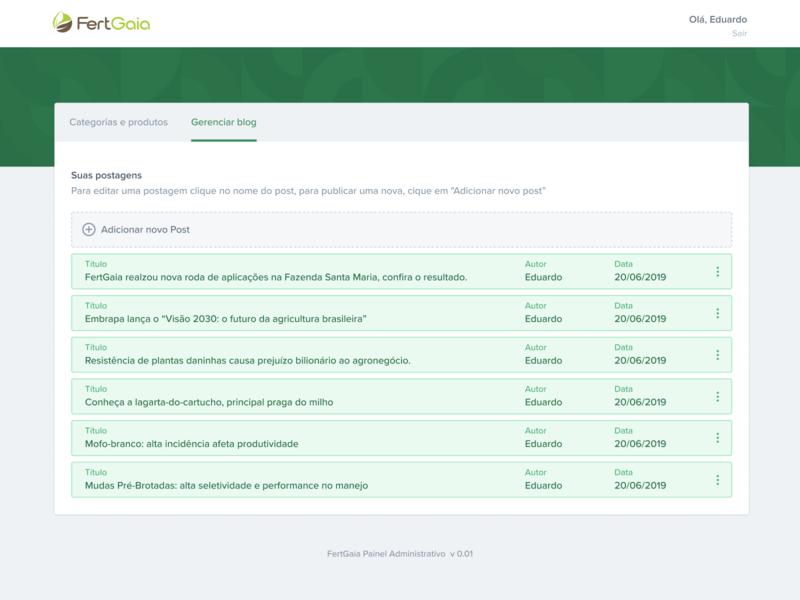 Blog CMS component title controler panel author management ui interface buttom add new new blog post blog cards stack green grid são paulo ribeirão preto