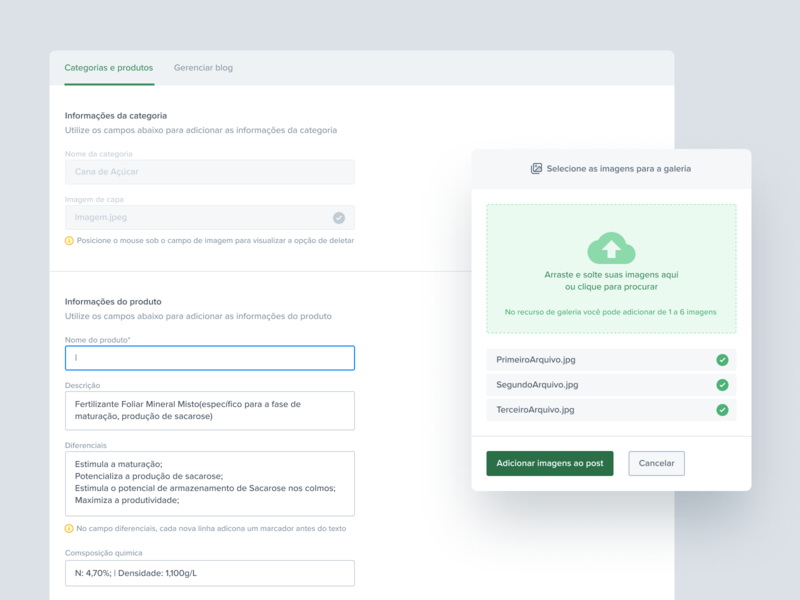 New product / category ux interface green card managment new product component upload modal hierarchy grid feedback validation checkout form cms category product são paulo ribeirão preto