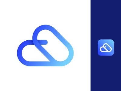 Cloud logo icon illustrator gradient cloud logo logodesign