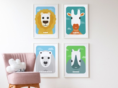 Little Animals posters buyarto illustrator bright colors childrens illustration poster