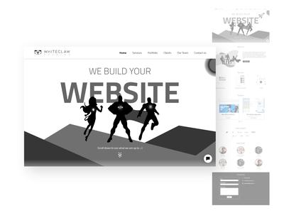 Whiteclaw studios website design startup freelance blackandwhite black  white uiux design flat illustration adobe ux ui website webdesign