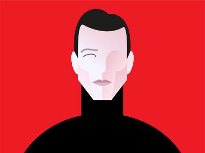 Halston digital illustration digitalart face vector illustration fashion designer portrait illusration