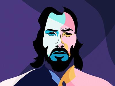 Keanu Reeves digital illustration dribbble digitalart sketch drawing face portrait vector illustration vector illustration art illustration