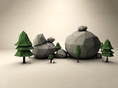 3D Nature Adventure rocks adventure nature trees render graphic design 3d illustration low poli 3d