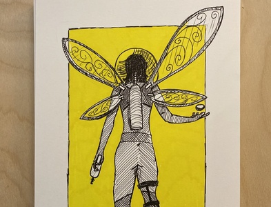 Daily Drawing - Day 11 - A pirating Space Fairy