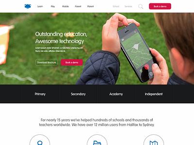 FrogEducation.com WIP (Home Page) layout navigation app education mobile flat webpage web design landing page website design ui