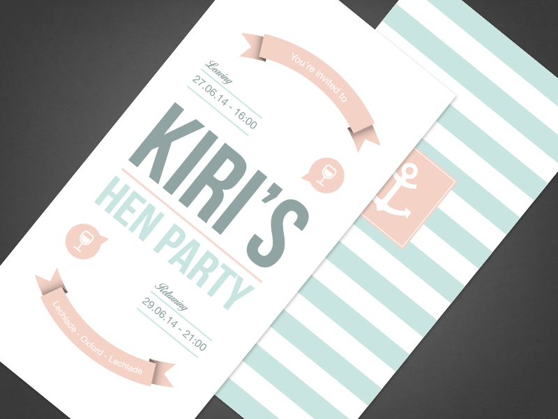 Hen Party Invitation print design print flat pastel hen party invitation
