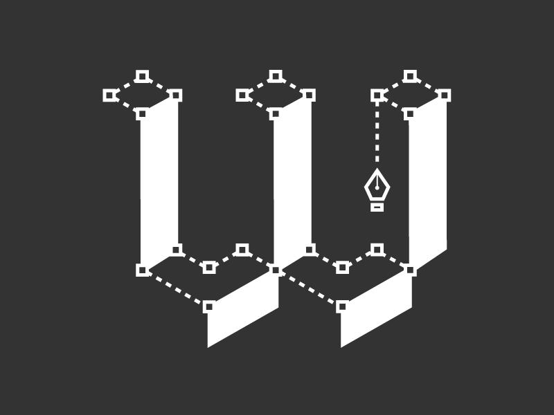Whitespace Concept isometric whitespace pen tool illustration typography type