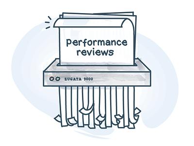 Shredding The Performance Reviews zugata illustration watercolor paintbrush paper shredder performance reviews