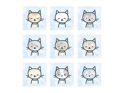 Catvatars cute soft avatars water color kitties kittens cat