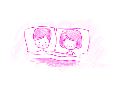 """""""We're Doing This"""" Illustration sleeping cute lovers chalk pink"""