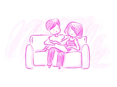 Stage 4: Optimism couple hand drawn cute pink sketch illustration