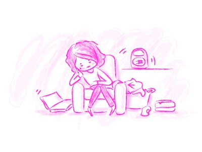 Stage 11: Discouragement hand drawn illustration pink stress super woman mother cute discourage