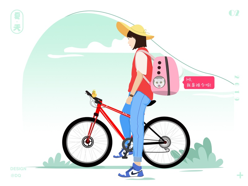 summer and  girl. ui 图标 插图 设计
