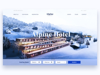 "Hotel ""Alpine"" typography minimal website ui ux web design illustration"
