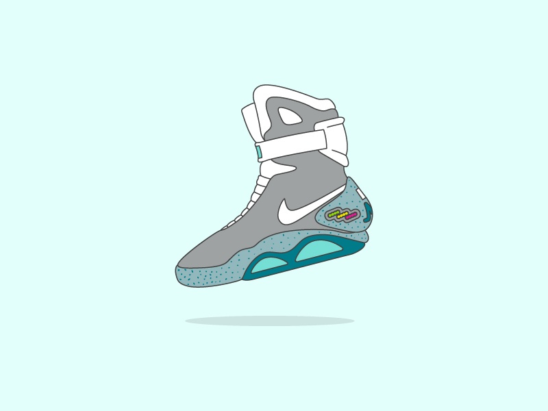 Air Mag sneakers flat illustration