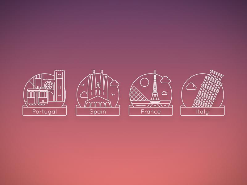 Garçon Coffee Country Icons europe city ui icons flat design