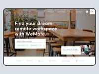 WeMote Remote Workspaces Design search banner home page office website office space workspace coworking remote work ui design