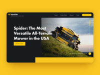 Spider Mower Website mowing lawn tech lawn website yellow black home page remote control grass lawn lawn mower