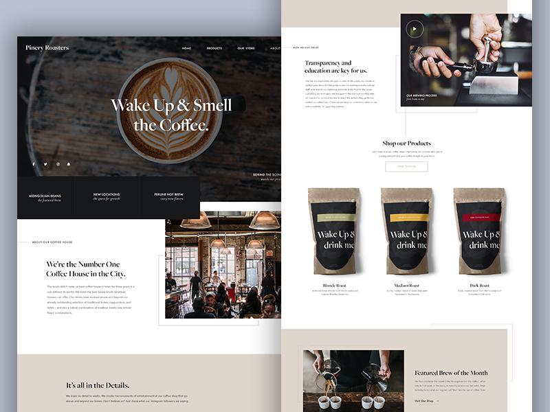 Coffee Website website web design ui restaurant home page coffee website coffee