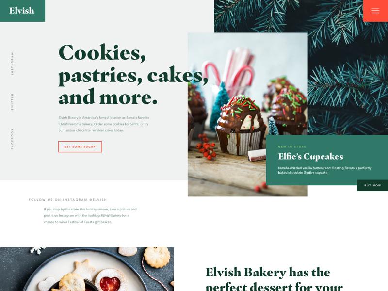 Elvish Bakery holiday season winter web design ui design north pole ecommerce bakery holiday website christmas website baking holidays christmas mockthehalls mock the halls
