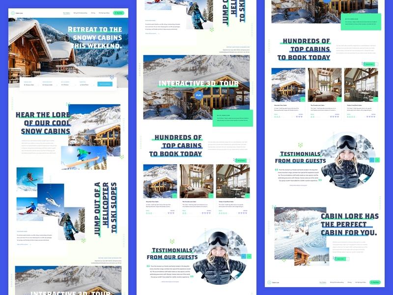 Cabin Lore - DZ Mock the Halls 2019 winter holiday winter snowboarding skiing cabin website snow ui design web design rental website booking website vacation website vacation christmas holiday cabin