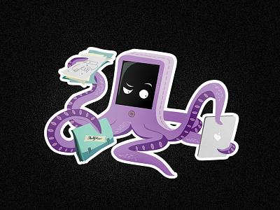 Character illustration for Ellecta Advertising  ellecta character illustration octopus cute small purple portfolio ipad sanjchek design vector character design vector illustration adobe illustrator