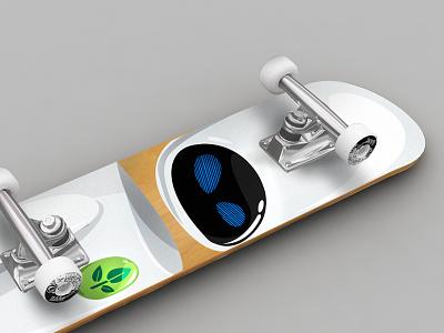 Eve skateboard illustration minimal simple vector pixar illustration skateboard