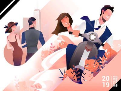 Get Married Now! motorcycle couple city married marry character match illustration