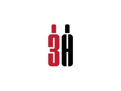 3H Wholesale Liquor icon monogram grapes glass logo liquor bottle wine