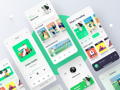 Library and Podcast Application figma book app book podcast library app library illustration mobile application clean app 2020 icon ux ui design